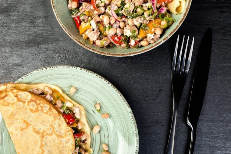 savory chicken and black bean crepe
