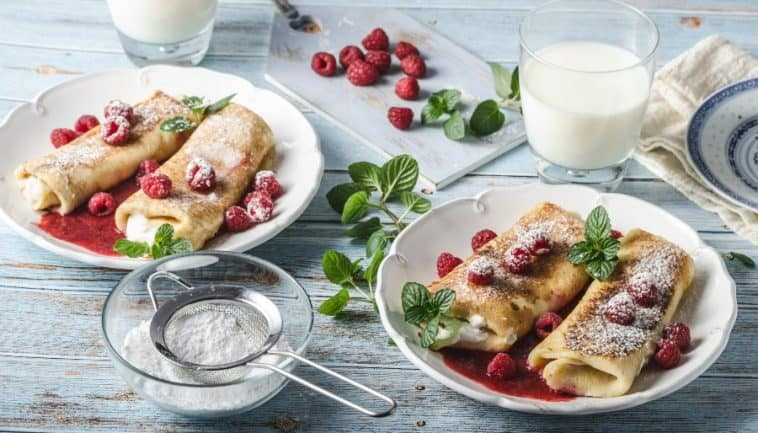 blintzes with cream and berries