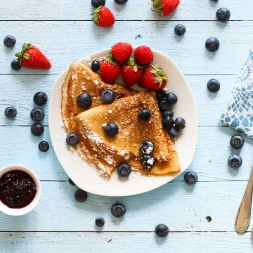 buttermilk crepes with blueberries