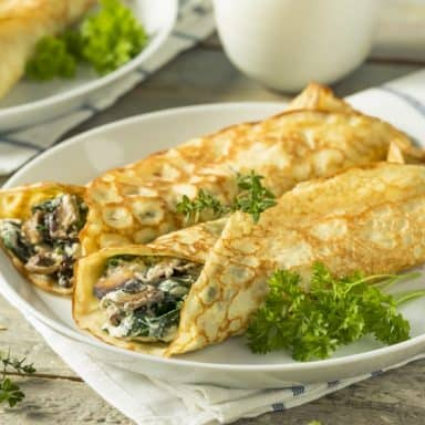 green chili and chicken crepes