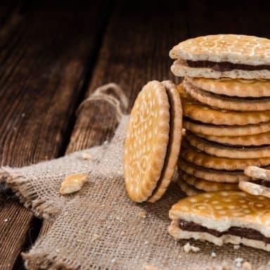 chocolate filled sugar cookie sandwiches