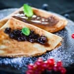 cholesterol free crepes with fruit topping