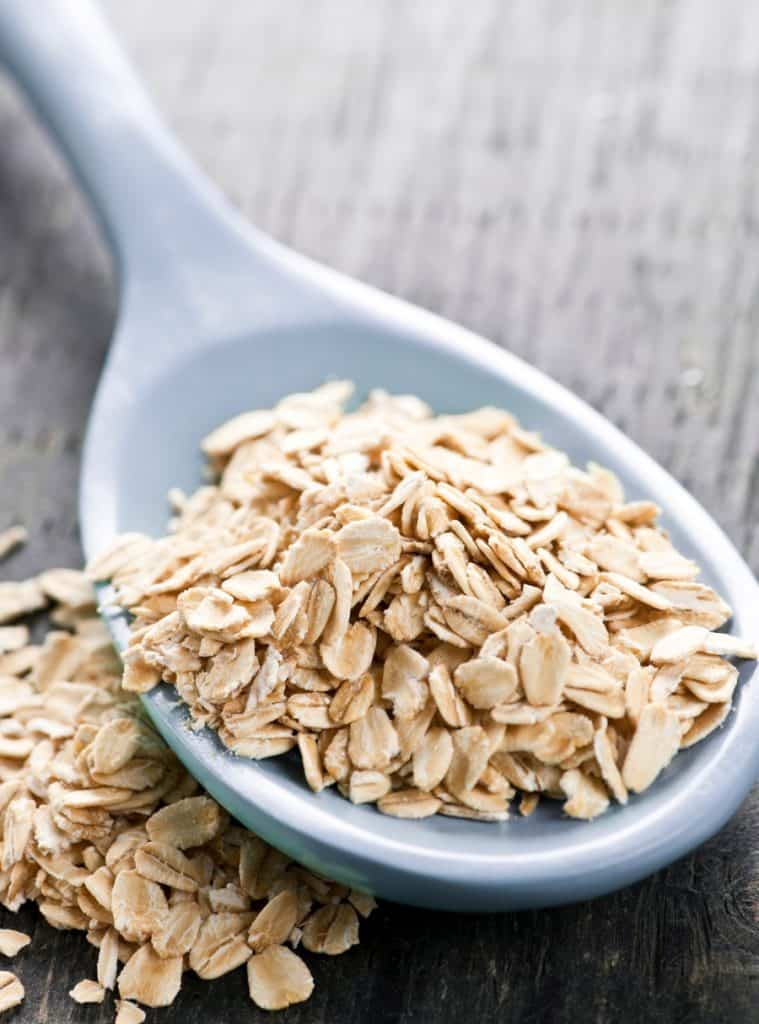 closeup of scoop of oats