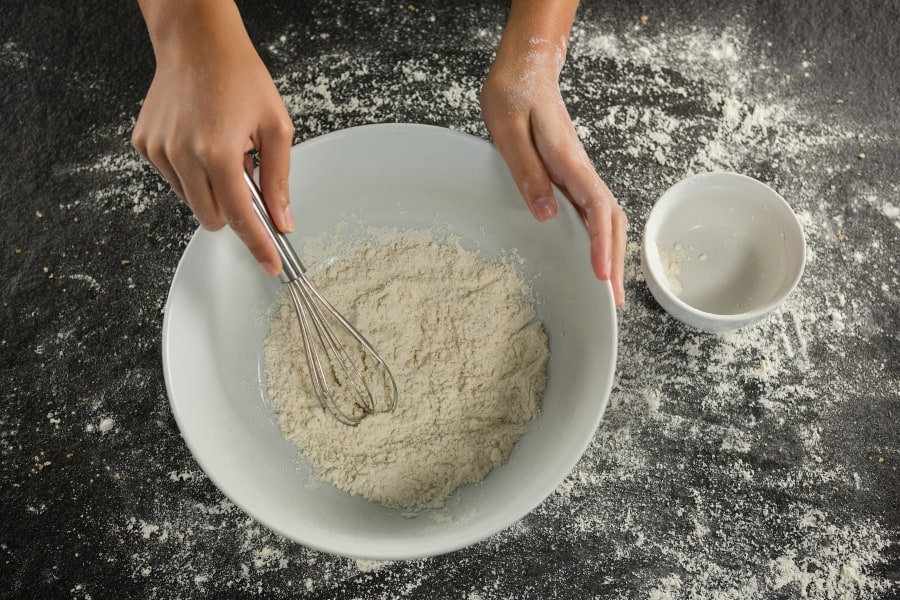 flour whisked in bowl