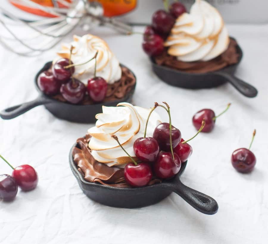 mini skillets with ganache filling with swiss meringue buttercream
