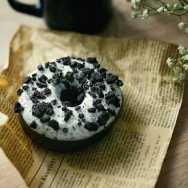oreo cookies and cream donut with coffee