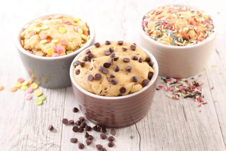 three bowls of cookie dough
