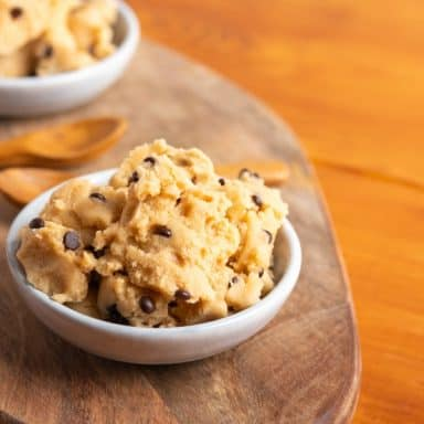 vegan cookie dough in bowl