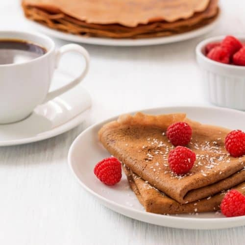 whole wheat crepes and cup of coffee