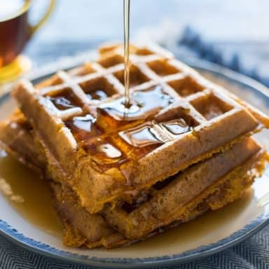 Bisquick pancake mix waffle with syrup