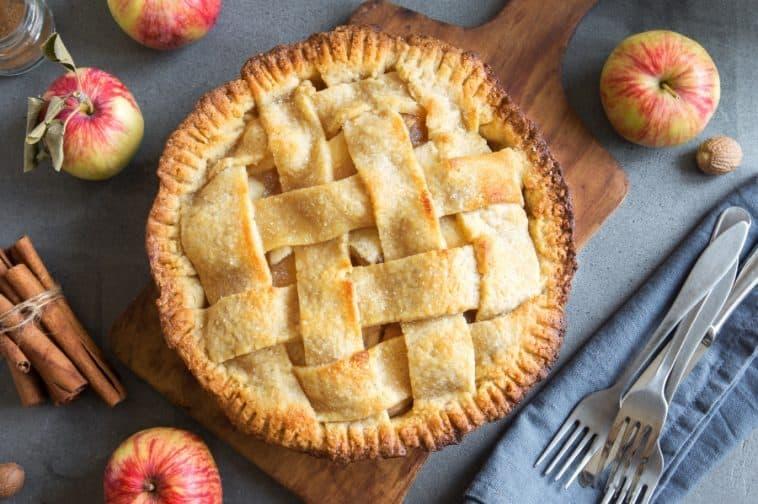apple pie on baking board