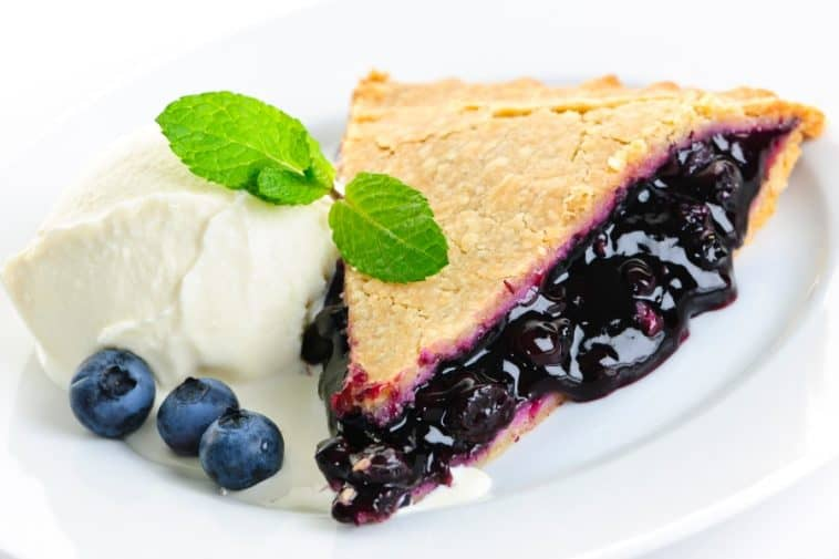blueberry pie on plate