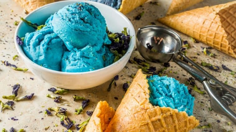 cookie monster ice cream in bowl