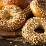 fresh homemade bagels on table