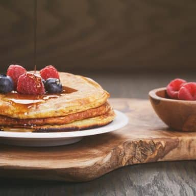 muffin mix pancakes with berries