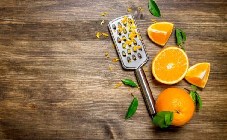 orange zest, oranges and grater