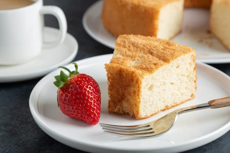 slice of angel cake with a strawberry