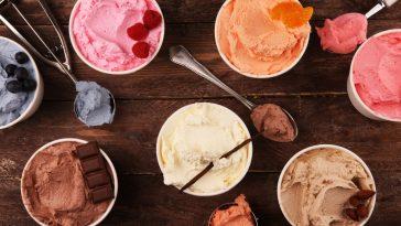 multiple cartons of gelato and ice cream