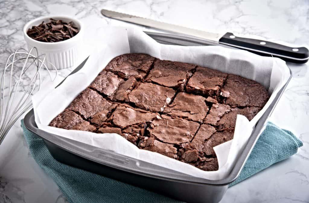 pan of chocolate brownies