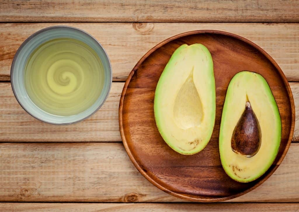 avocados on plate and avocado oil