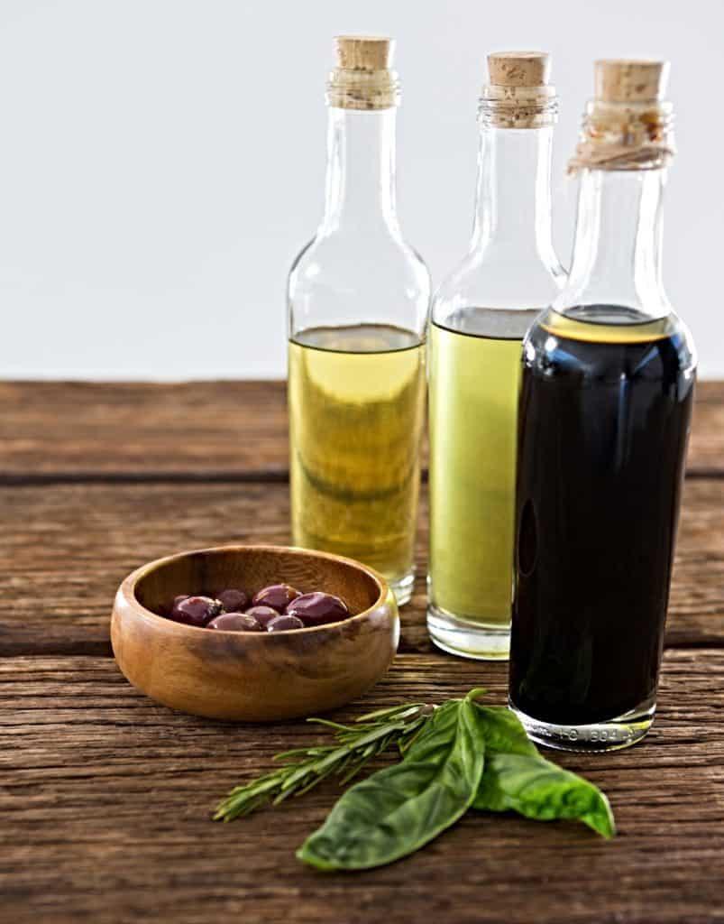 balsamic vinegar in bottle on table
