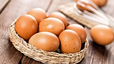 basket of brown eggs