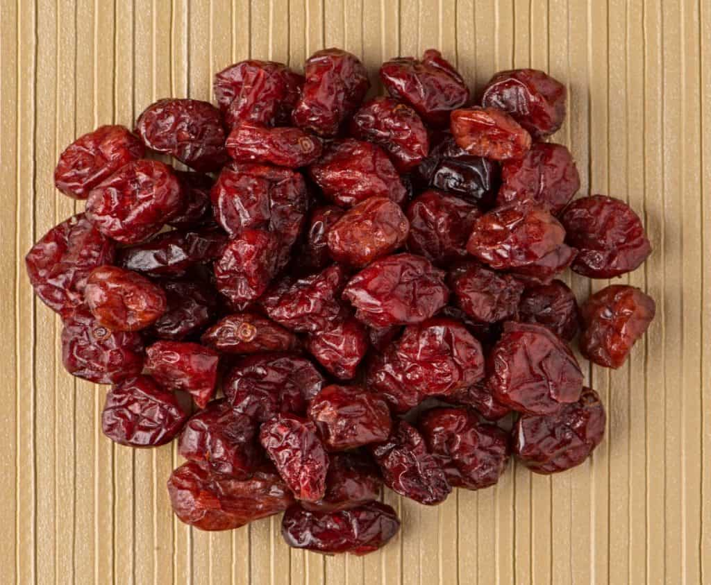 batch of dehydrated cranberries