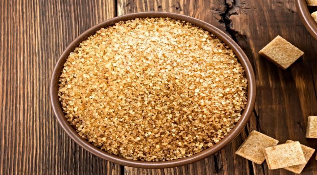 bowl of whole cane sugar