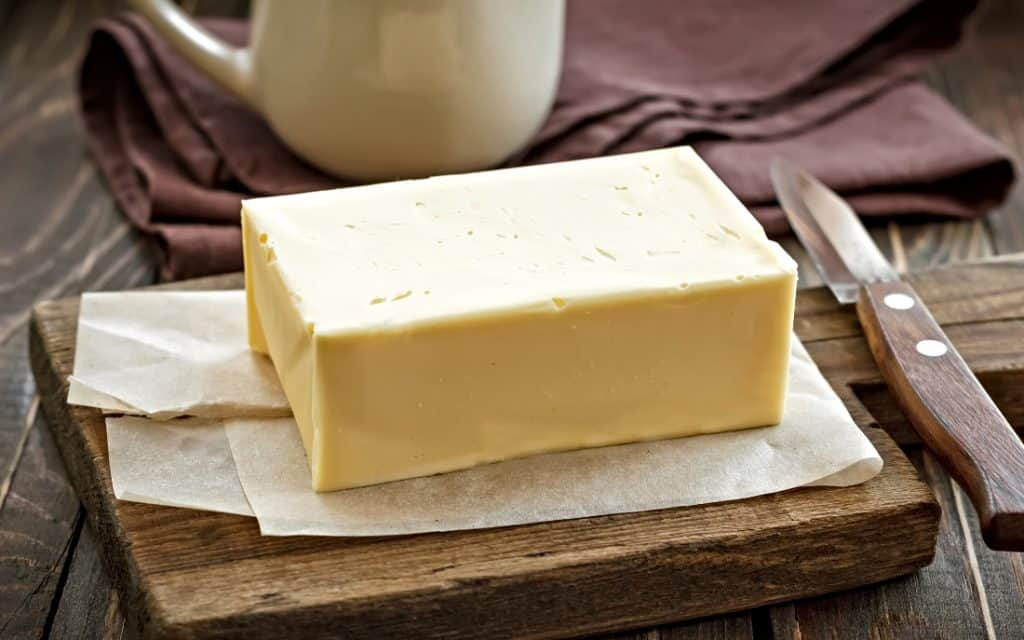 butter on cutting board