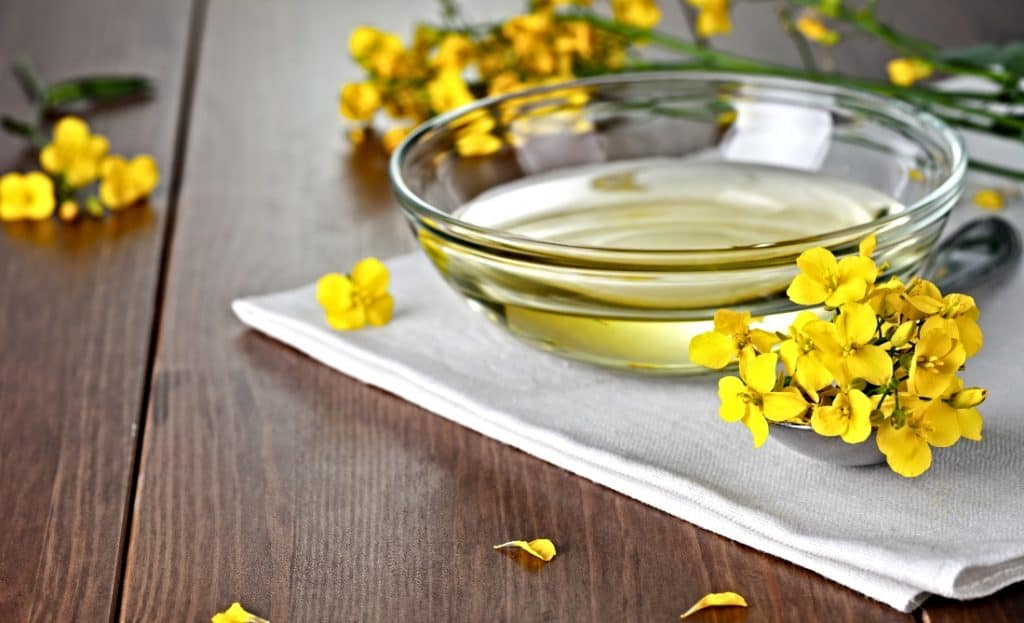 canola oil in glass bowl