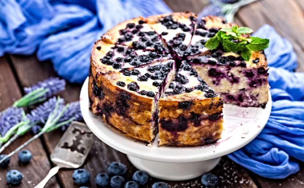 cheesecake on cake pedestal