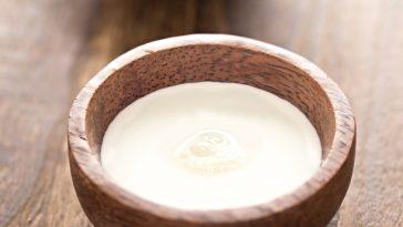 coconut cream in wooden bowl
