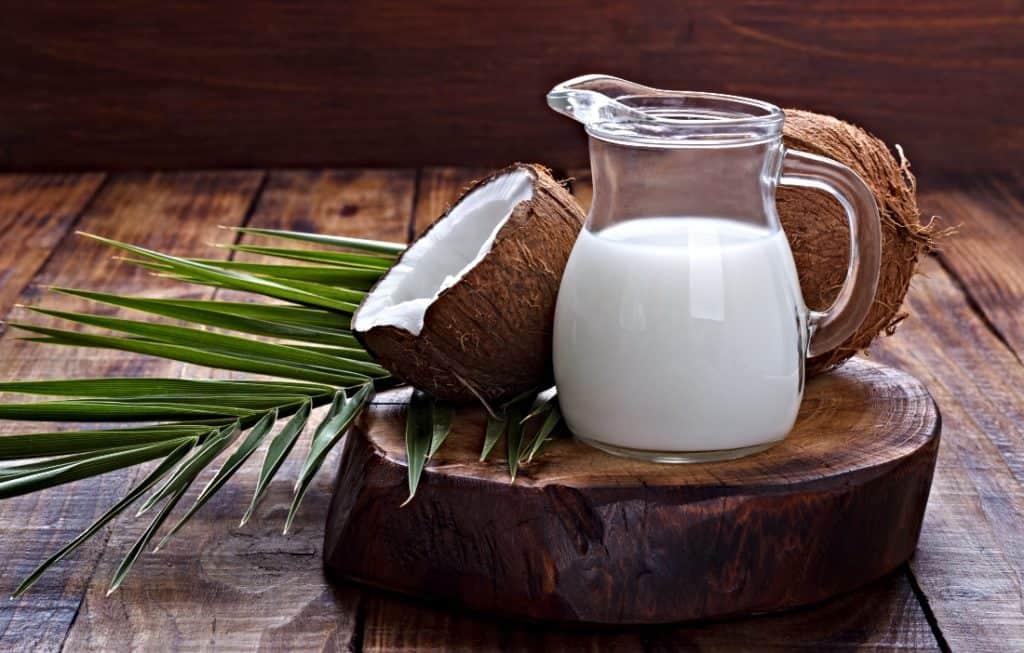 coconut milk in pitcher