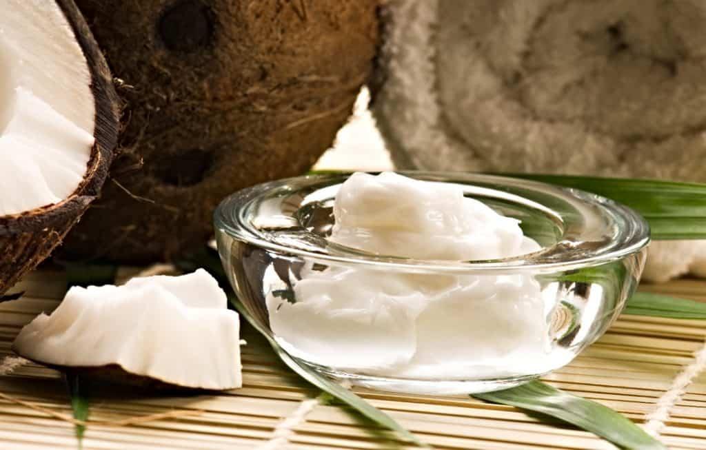 coconut oil in glass bowl