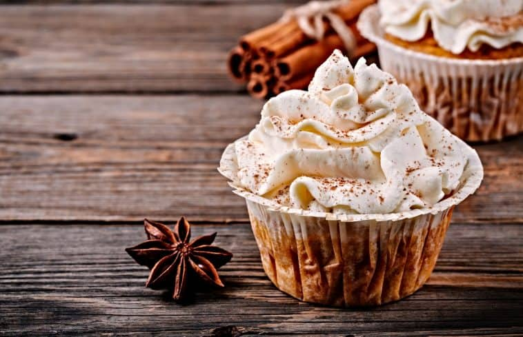 cream cheese frosted cupcake