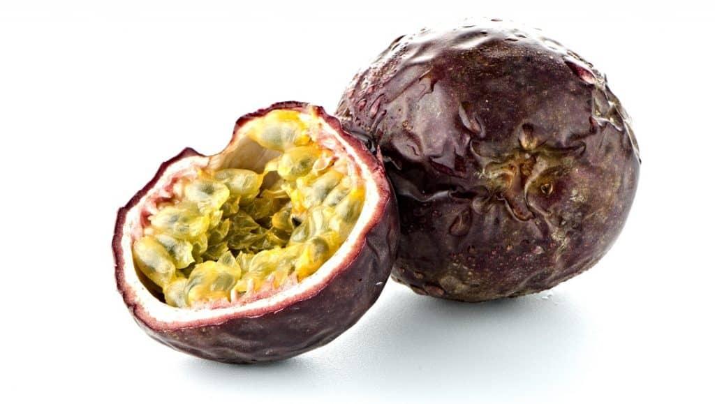 cut open purple passion fruit