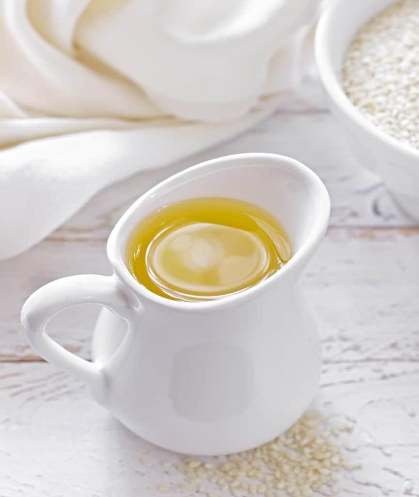 decanter of sesame oil