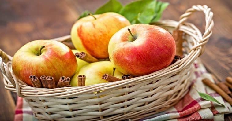 fresh apples in basket