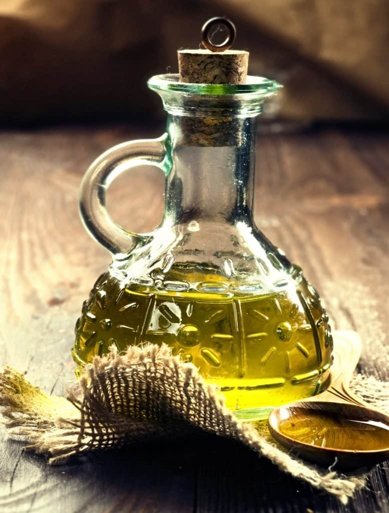 glass decanter of olive oil