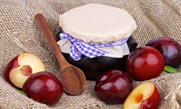 jar of plum preserves and fresh plums