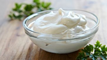 mayonnaise in glass bowl