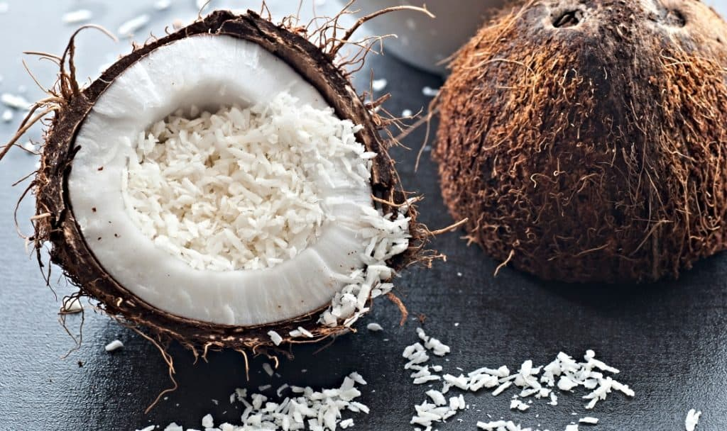 shredded coconut and coconut halves