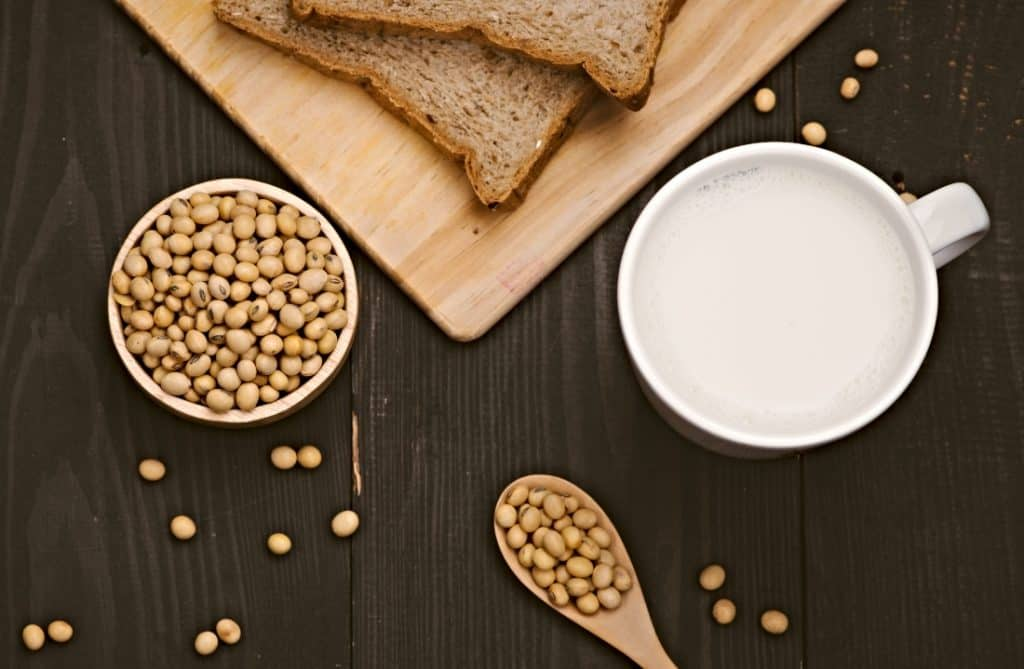soy milk in cup and soy beans in bowl
