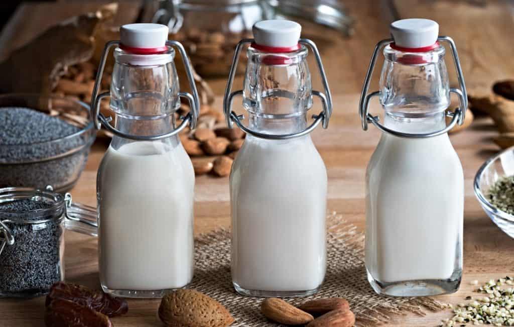 three glasses of hemp seed milk