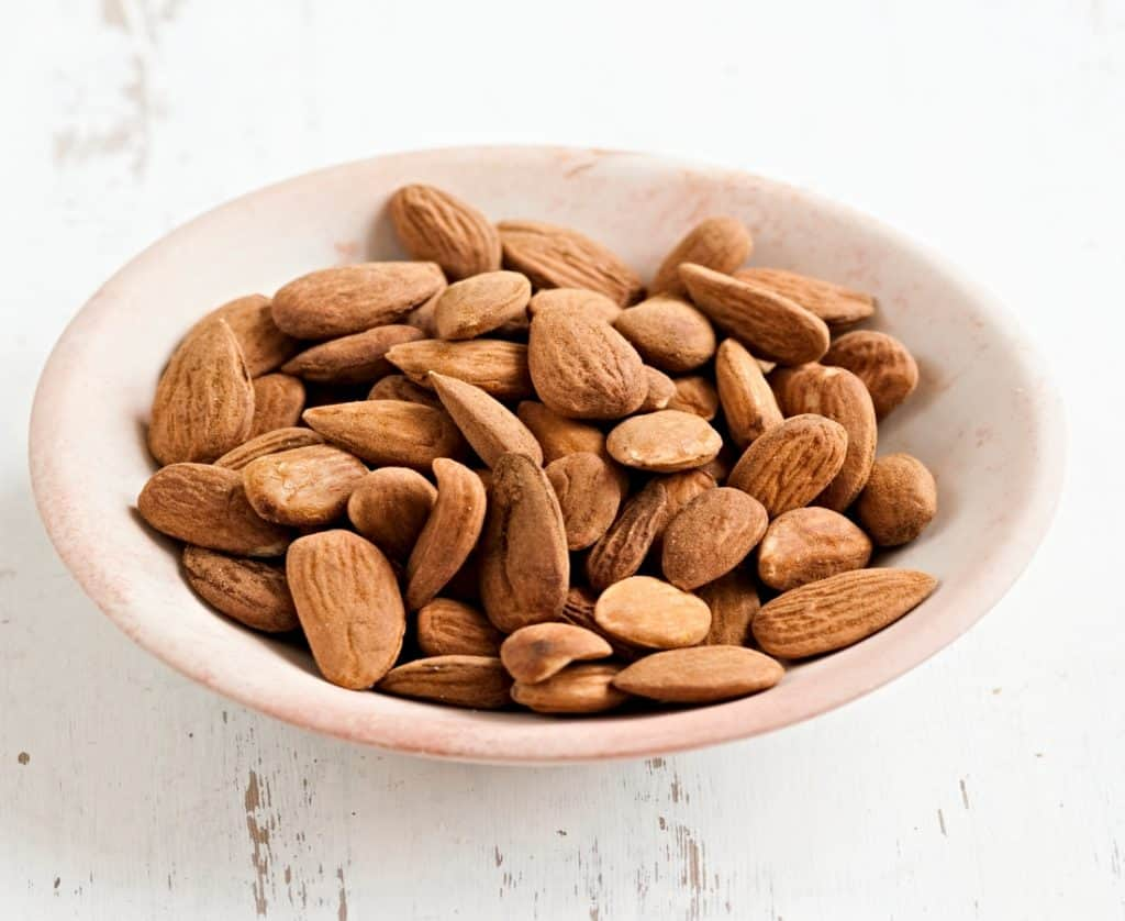 whole almonds in bowl