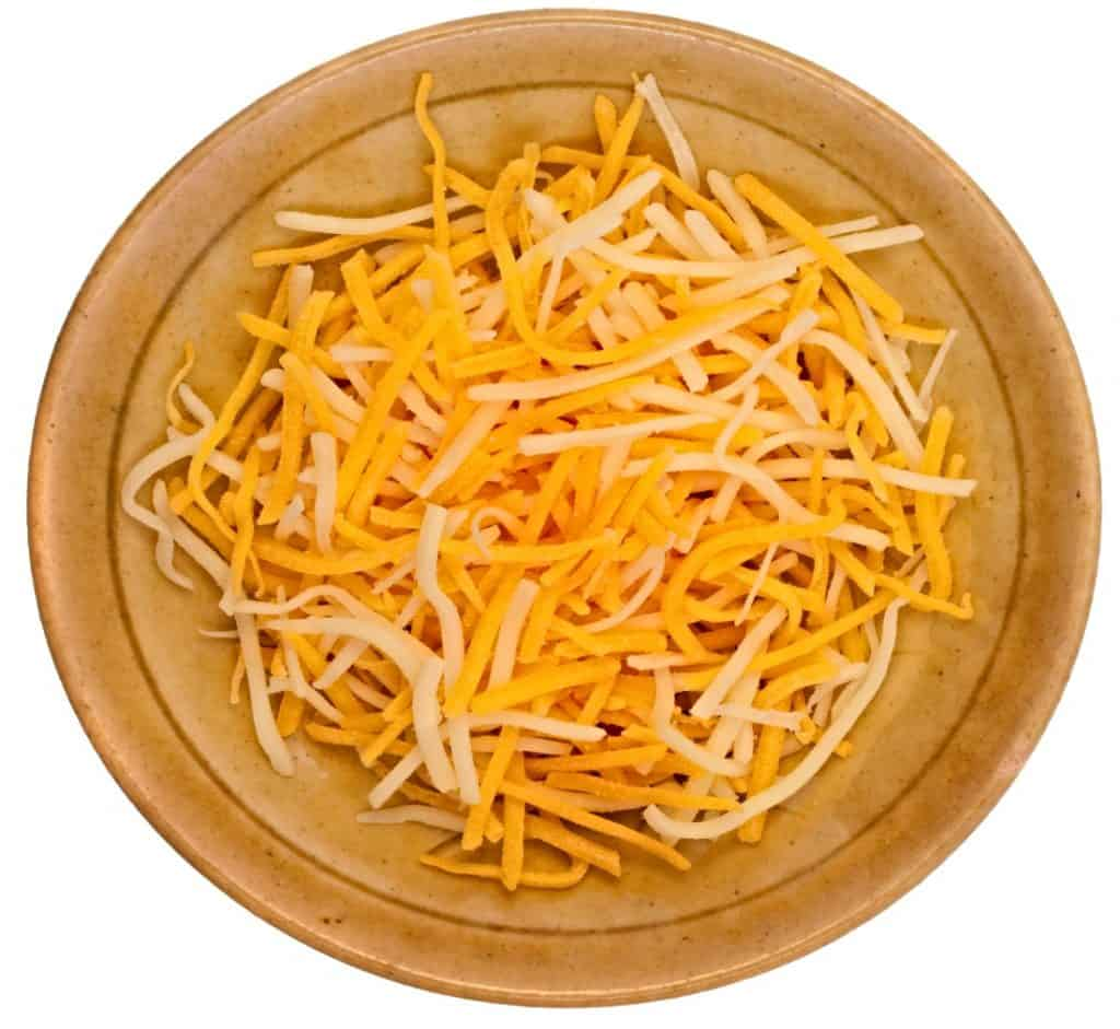 wooden bowl with shredded monterey jack cheese