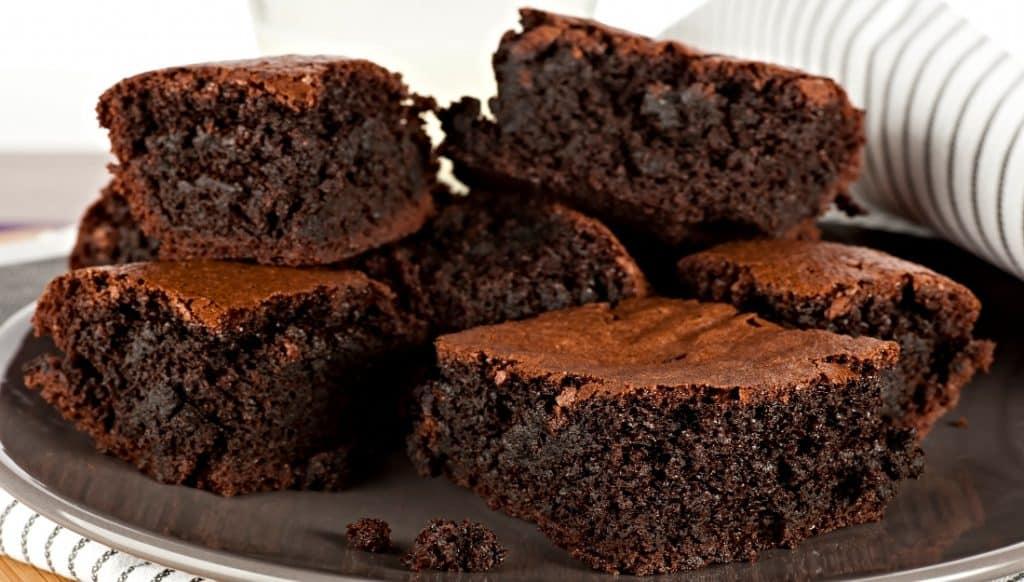 plate of chocolate fudge brownies