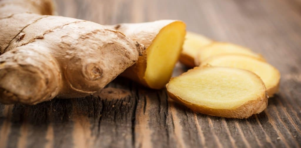 sliced ginger root